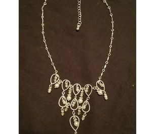 Silver and pearl chandlier necklace